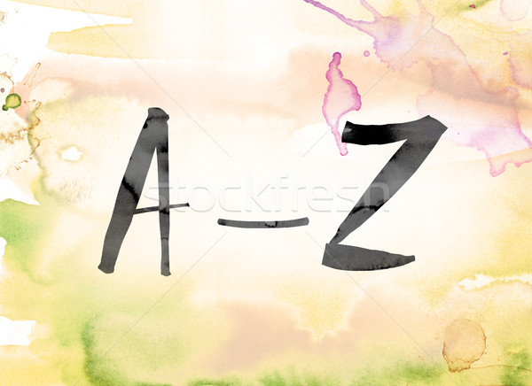 A-Z Colorful Watercolor and Ink Word Art Stock photo © enterlinedesign