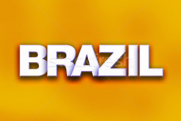 Brasil colorido palavra arte escrito branco Foto stock © enterlinedesign
