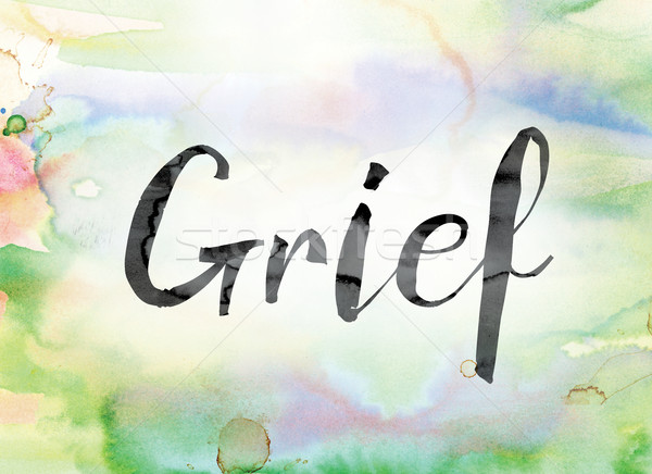 Grief Colorful Watercolor and Ink Word Art Stock photo © enterlinedesign