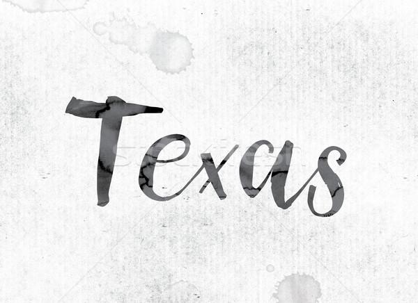Texas pintado tinta palabra acuarela blanco Foto stock © enterlinedesign