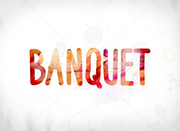 Banquet peint couleur pour aquarelle mot art coloré Photo stock © enterlinedesign