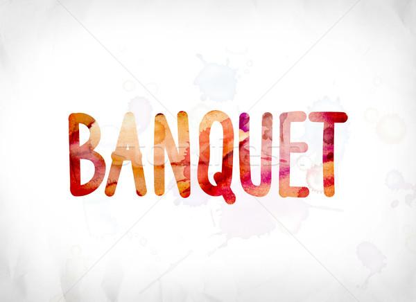 Banket geschilderd aquarel woord kunst kleurrijk Stockfoto © enterlinedesign