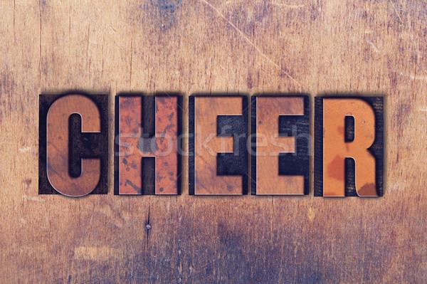 Jókedv magasnyomás szó fa írott klasszikus Stock fotó © enterlinedesign