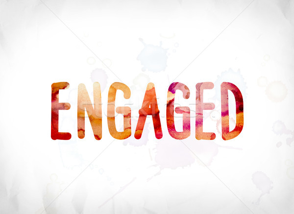 Engaged Concept Painted Watercolor Word Art Stock photo © enterlinedesign
