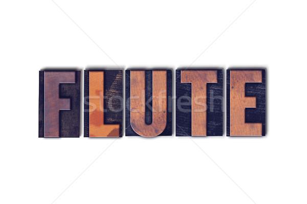 флейта изолированный слово написанный Vintage Сток-фото © enterlinedesign