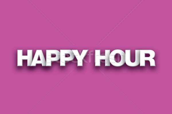 Happy Hour Theme Word Art on Colorful Background Stock photo © enterlinedesign