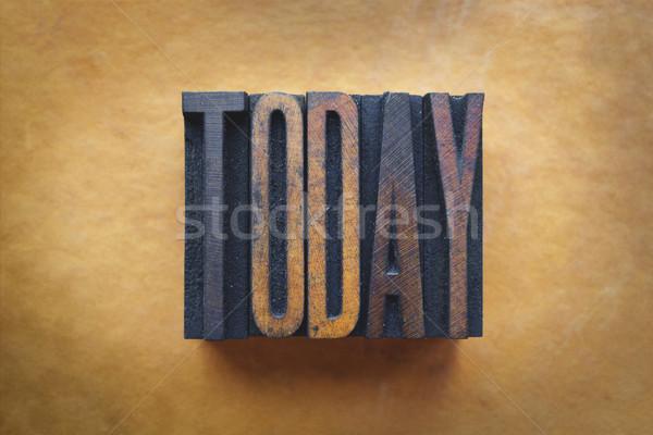 Hoje palavra escrito vintage tipo Foto stock © enterlinedesign