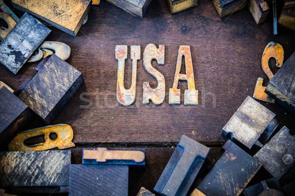 Foto d'archivio: USA · arrugginito · tipo · lettere · scritto · arrugginito