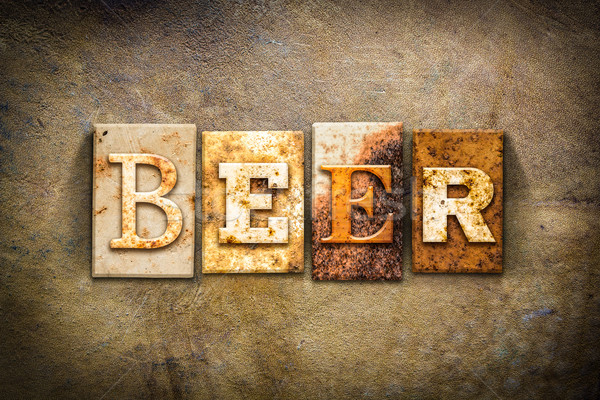 Beer Concept Letterpress Leather Theme Stock photo © enterlinedesign
