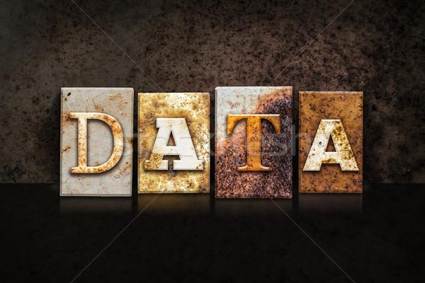 Data Letterpress Concept on Dark Background Stock photo © enterlinedesign