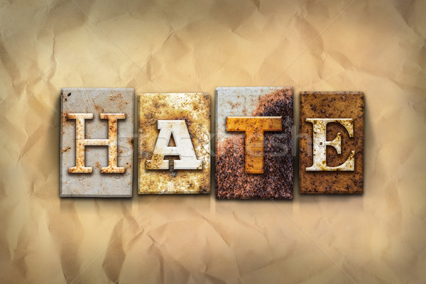 Hate Concept Rusted Metal Type Stock photo © enterlinedesign