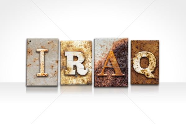 Iraque isolado branco palavra escrito Foto stock © enterlinedesign