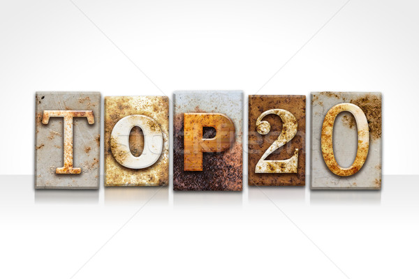 Top 20 Letterpress Concept Isolated on White Stock photo © enterlinedesign