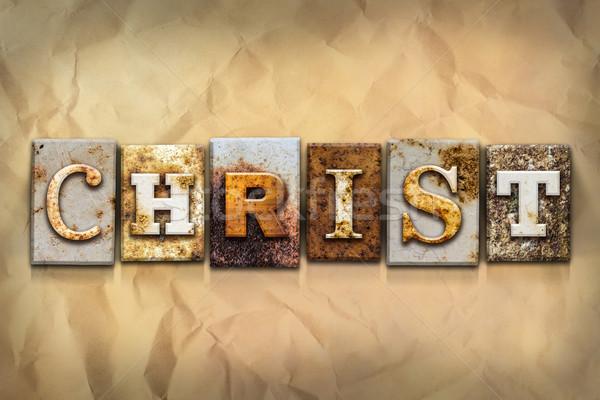 Foto stock: Cristo · oxidado · metal · tipo · nombre · escrito