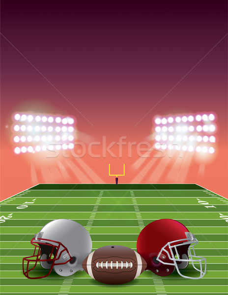 American Football Field at Sunset Stock photo © enterlinedesign
