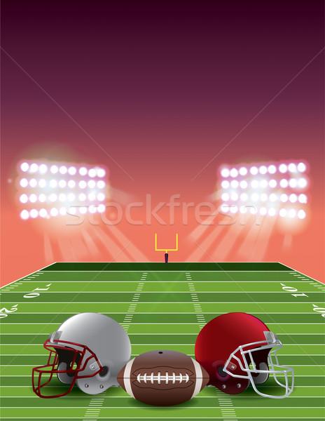 Americano campo de fútbol puesta de sol fútbol estadio campo Foto stock © enterlinedesign
