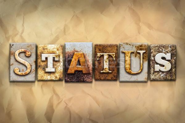 Stato arrugginito metal tipo parola scritto Foto d'archivio © enterlinedesign