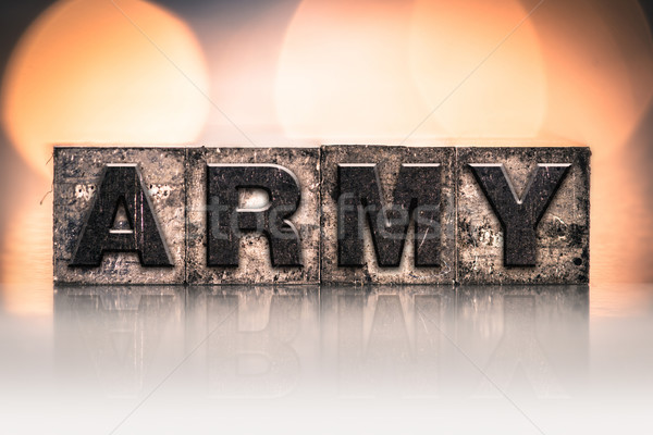 Army Concept Vintage Letterpress Type Stock photo © enterlinedesign