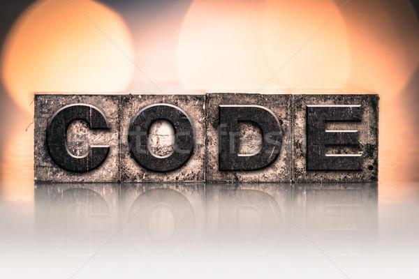 Kod bağbozumu tip kelime yazılı Stok fotoğraf © enterlinedesign