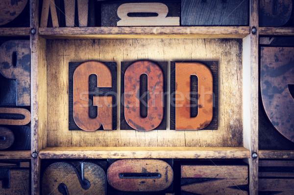 Deus tipo palavra escrito vintage Foto stock © enterlinedesign