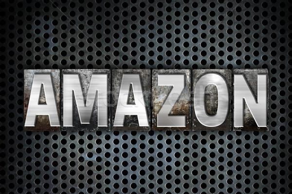 Amazon Metall Buchdruck Typ Wort geschrieben Stock foto © enterlinedesign