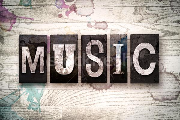 Music Concept Metal Letterpress Type Stock photo © enterlinedesign