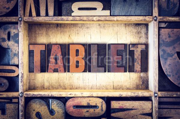 Foto stock: Tableta · tipo · palabra · escrito · vintage