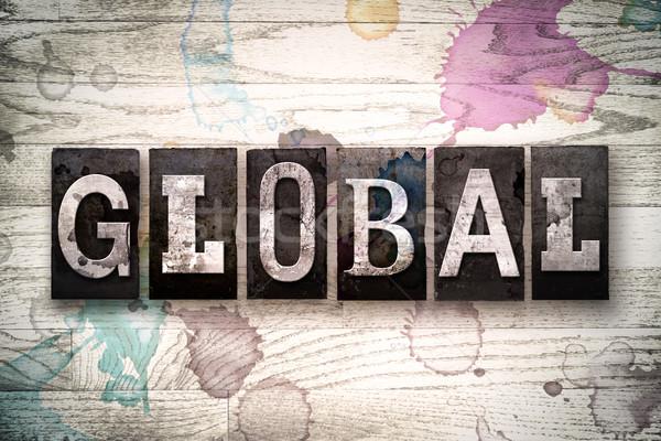 Global Metal tip kelime yazılı Stok fotoğraf © enterlinedesign