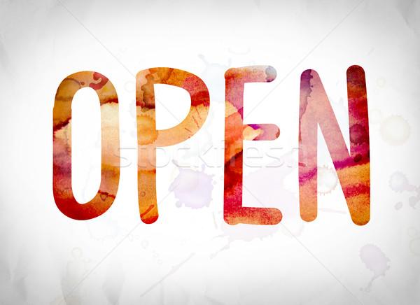 Open Concept Watercolor Word Art Stock photo © enterlinedesign