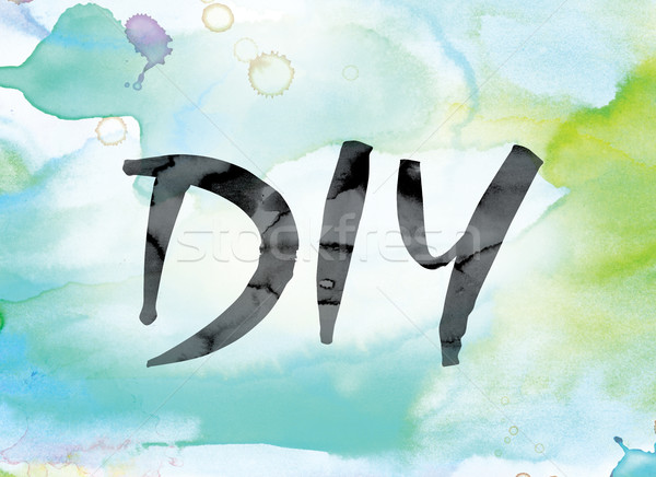 DIY Colorful Watercolor and Ink Word Art Stock photo © enterlinedesign