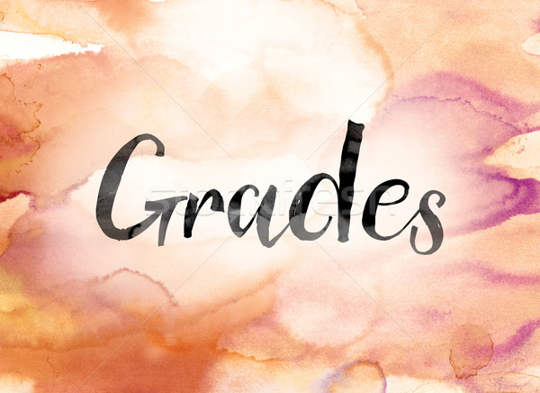 Grades Colorful Watercolor and Ink Word Art Stock photo © enterlinedesign