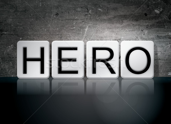Herói azulejos cartas palavra escrito branco Foto stock © enterlinedesign