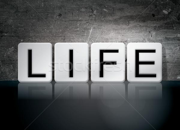 Leven betegelde brieven woord geschreven witte Stockfoto © enterlinedesign