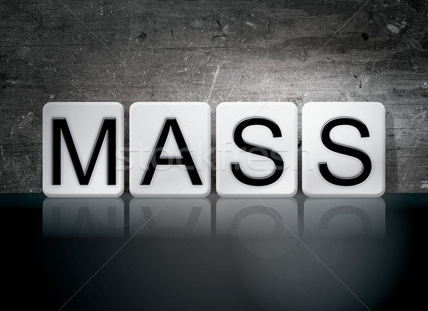 Massa betegelde brieven woord geschreven witte Stockfoto © enterlinedesign
