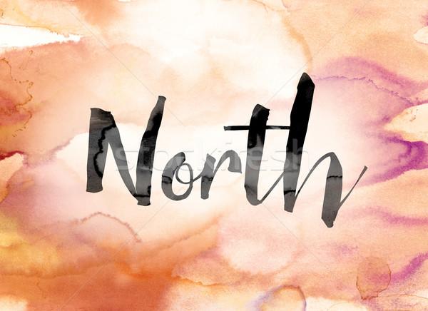 Foto stock: Norte · colorido · acuarela · tinta · palabra · arte