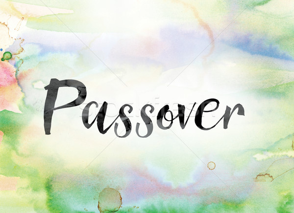 Passover Colorful Watercolor and Ink Word Art Stock photo © enterlinedesign