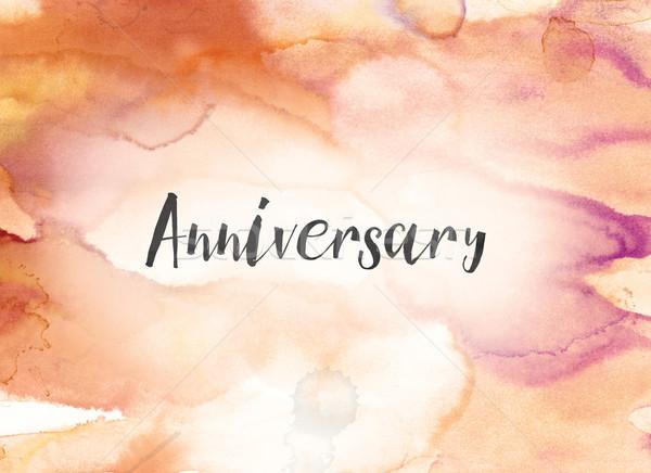 Aniversario acuarela tinta pintura palabra escrito Foto stock © enterlinedesign