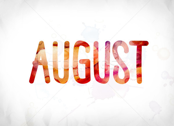 August Concept Painted Watercolor Word Art Stock photo © enterlinedesign