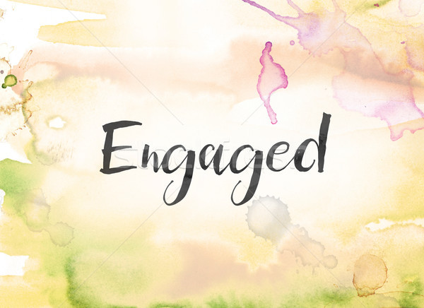 Engaged Concept Watercolor and Ink Painting Stock photo © enterlinedesign