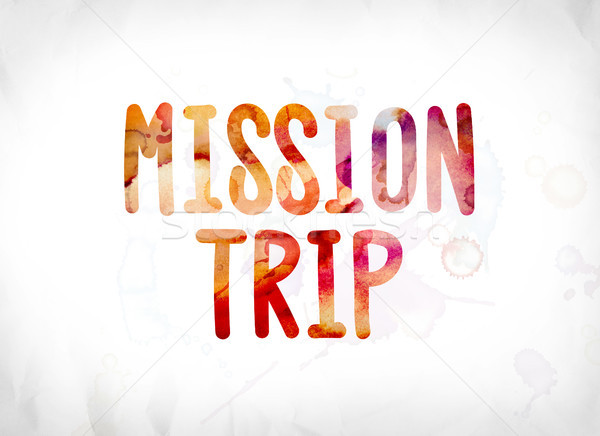Mission voyage peint couleur pour aquarelle mot art Photo stock © enterlinedesign