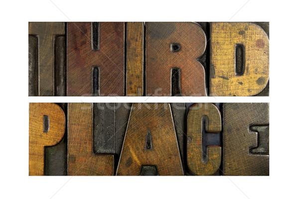 Derde plaats woorden geschreven vintage Stockfoto © enterlinedesign