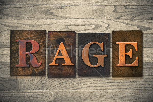 Rage Wooden Letterpress Theme Stock photo © enterlinedesign