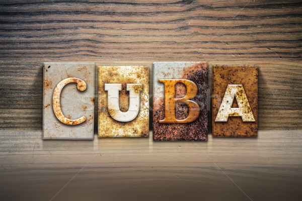 Куба слово написанный ржавые металл Сток-фото © enterlinedesign