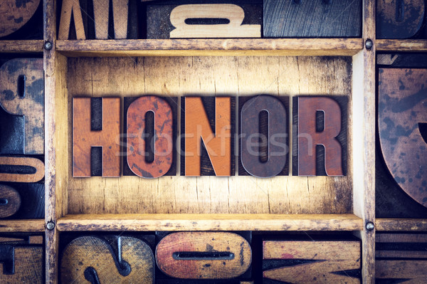 Honor Concept Letterpress Type Stock photo © enterlinedesign