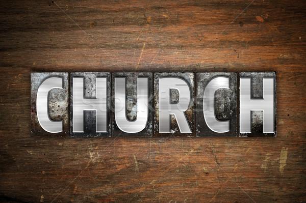 Kilise Metal tip kelime yazılı Stok fotoğraf © enterlinedesign
