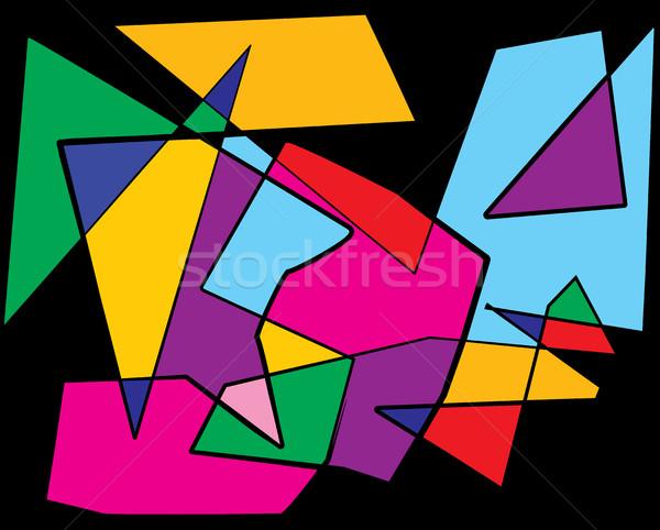 Colorido cubismo abstrato ilustração vetor eps Foto stock © enterlinedesign