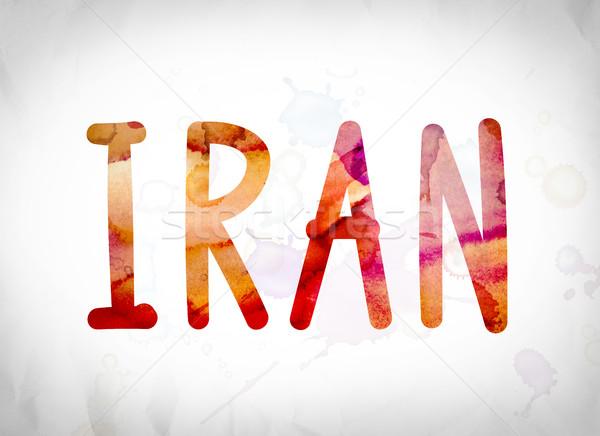 Irán vízfesték szó művészet írott fehér Stock fotó © enterlinedesign