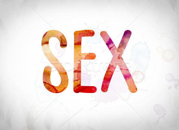 Sexo acuarela palabra arte escrito blanco Foto stock © enterlinedesign