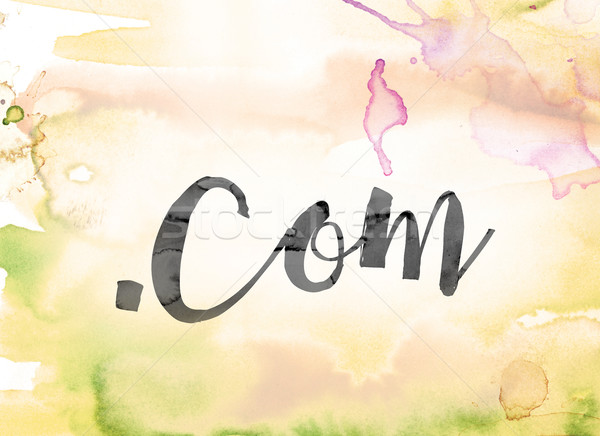 Dot Com Colorful Watercolor and Ink Word Art Stock photo © enterlinedesign