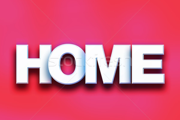 Casa colorido palavra arte escrito branco Foto stock © enterlinedesign